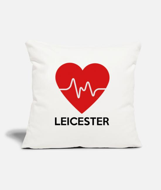 "Great Britain Pillow Cases - Heart Leicester - Throw Pillow Cover 18"" x 18"" natural white"