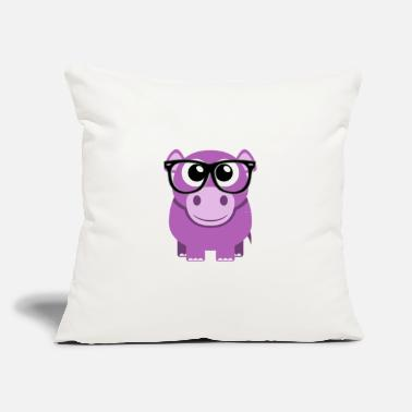 Hippo with Glasses - Throw Pillow Cover
