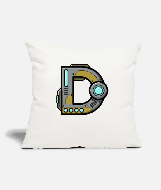"Alphabet Pillow Cases - Initial letter character gift present robot name D - Throw Pillow Cover 18"" x 18"" natural white"