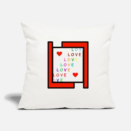 "Love Pillow Cases - colour love - Throw Pillow Cover 18"" x 18"" natural white"