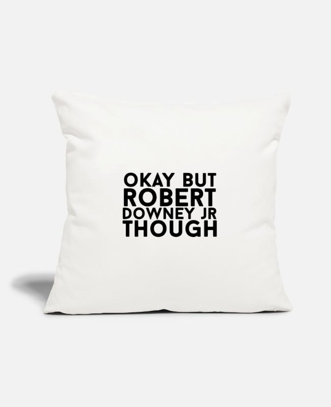 "Tony Pillow Cases - Downey JR Though - Throw Pillow Cover 18"" x 18"" natural white"