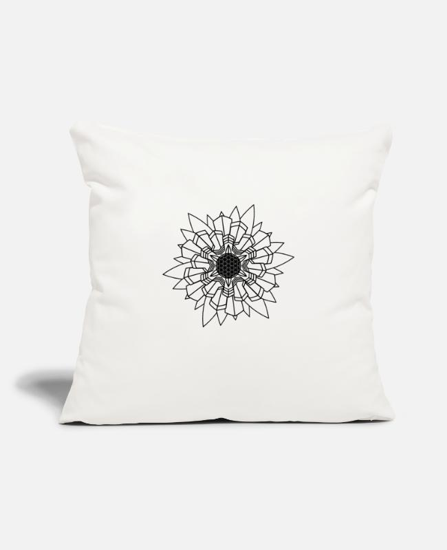 "Buddha Pillow Cases - Mandala Oldschool MANDALA Ink Tattoo Newschool Mod - Throw Pillow Cover 18"" x 18"" natural white"