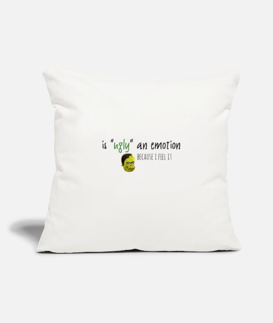 "Emotion Pillow Cases - Ugly as an emotion - Throw Pillow Cover 18"" x 18"" natural white"