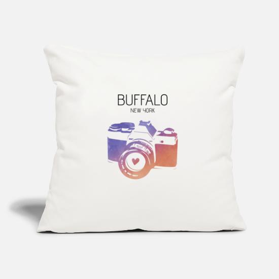 "United States Pillow Cases - Camera Buffalo - Throw Pillow Cover 18"" x 18"" natural white"