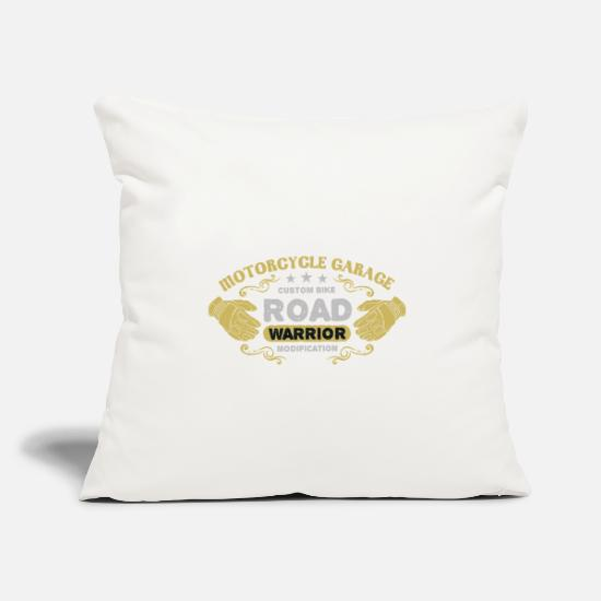"Motorcycle Pillow Cases - Motorcycle Garage - Throw Pillow Cover 18"" x 18"" natural white"