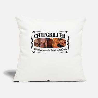 "Schwarz CHEFGRILLER schwarz - Throw Pillow Cover 18"" x 18"""