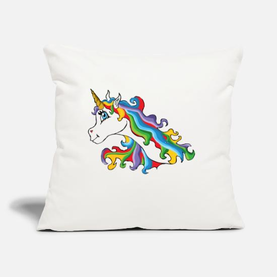 "Mane Pillow Cases - Colourful unicorn with rainbow coloured mane - Throw Pillow Cover 18"" x 18"" natural white"