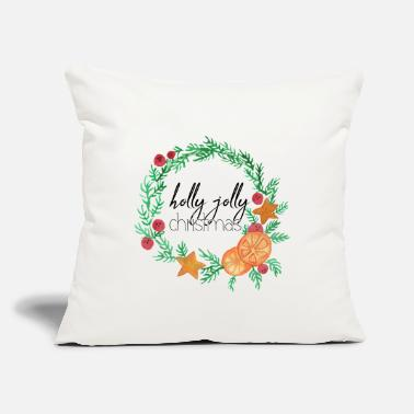 "holly jolly christmas present winter - Throw Pillow Cover 18"" x 18"""