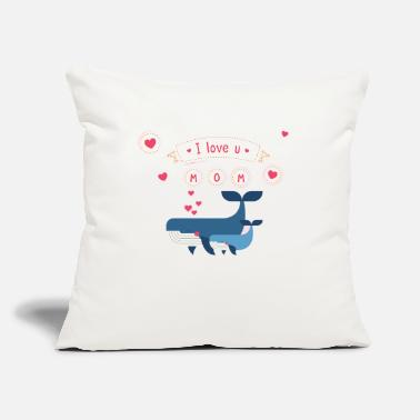 "I Love i love you mom whale - Throw Pillow Cover 18"" x 18"""