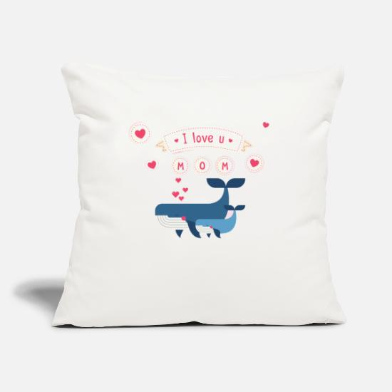 "Love Pillow Cases - i love you mom whale - Throw Pillow Cover 18"" x 18"" natural white"