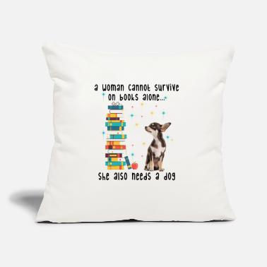"BOOK AND CHIHUAHUA - Throw Pillow Cover 18"" x 18"""