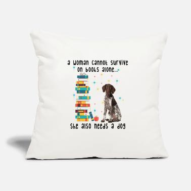 "BOOK AND GERMAN SHORTHAIRED POINTER - Throw Pillow Cover 18"" x 18"""