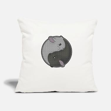 "Taoism Cute Chinchilla Gift Yin Yang Rodent Pet Taoism - Throw Pillow Cover 18"" x 18"""