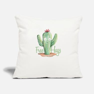 "Cute Hugs For Free Cactus Cartoonist or Cartoons - Throw Pillow Cover 18"" x 18"""