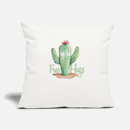 "Funny Cartoon Shirts And Gifts For Cartoon Lovers Pillow Cases - Cute Hugs For Free Cactus Cartoonist or Cartoons - Throw Pillow Cover 18"" x 18"" natural white"