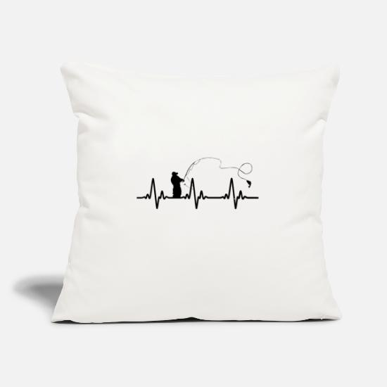 "Fishing Rod Pillow Cases - Heartbeat fishing - Throw Pillow Cover 18"" x 18"" natural white"