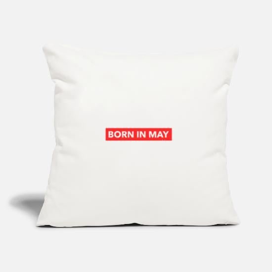 "Birthday Pillow Cases - Born in May - Throw Pillow Cover 18"" x 18"" natural white"