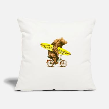 "Malibu California bicycle for surfers - Throw Pillow Cover 18"" x 18"""