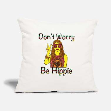 "Gunja Don't Worry Be Hippie - Throw Pillow Cover 18"" x 18"""