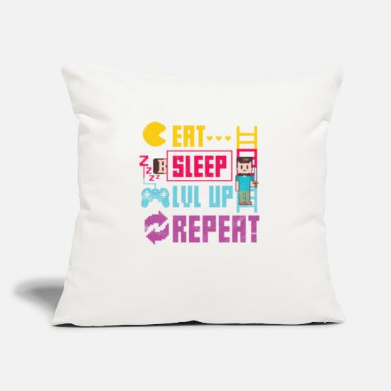 "Gift Idea Pillow Cases - Gamer Gamer Gift Lvl Up - Throw Pillow Cover 18"" x 18"" natural white"