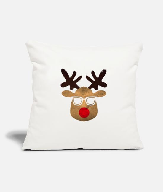 "Ugly Christmas Pillow Cases - Ugly Xmas ugly reindeer with glasses - Throw Pillow Cover 18"" x 18"" natural white"