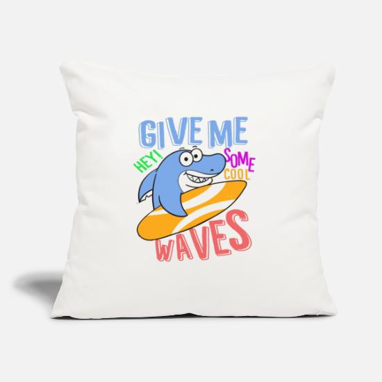 "Cartoon-kids-babies-baby-toddler-shirts Pillow Cases - Kids Shirts for Kids Toddler Cartoon shark give me - Throw Pillow Cover 18"" x 18"" natural white"