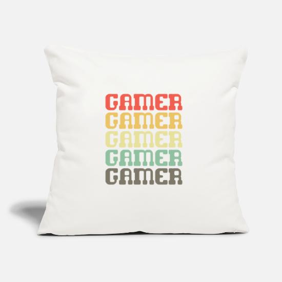 "Play Pillow Cases - Gamer - Throw Pillow Cover 18"" x 18"" natural white"