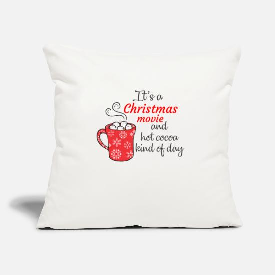 "Christmas Pillow Cases - Christmas movie and hot cocoa kind of day - Throw Pillow Cover 18"" x 18"" natural white"