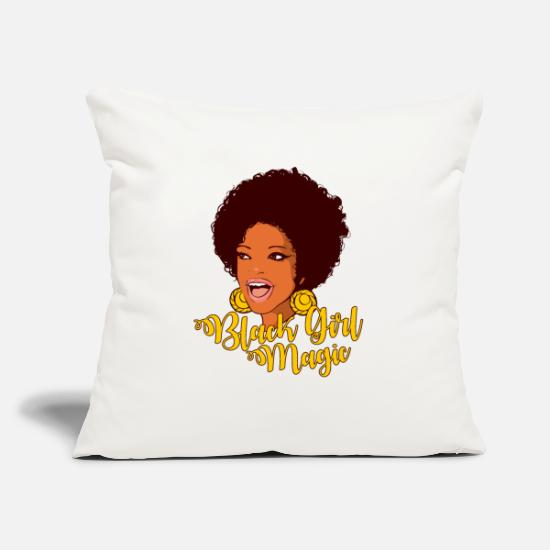 "Black Pillow Cases - Black Girl Magic Black History Month Gift - Throw Pillow Cover 18"" x 18"" natural white"