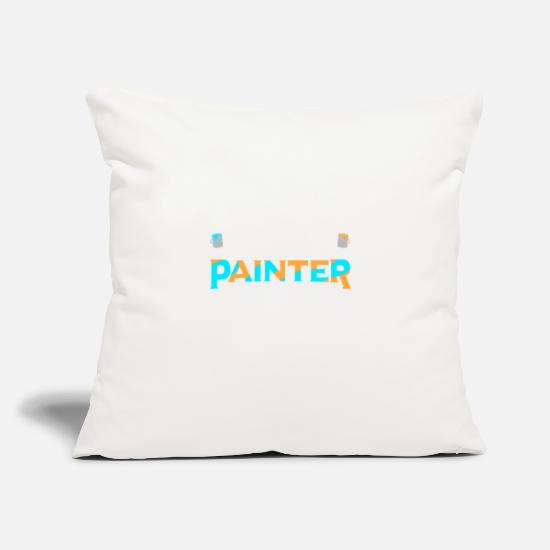 "Color Pillow Cases - Painter Artist Brush Paint Can Painting - Throw Pillow Cover 18"" x 18"" natural white"