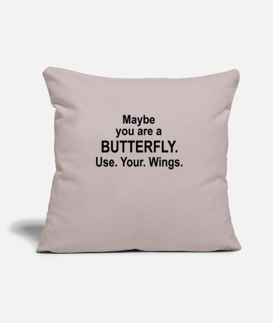 "Wine Pillow Cases - Maybe You are a BUTTERFLY! - Throw Pillow Cover 18"" x 18"" light taupe"
