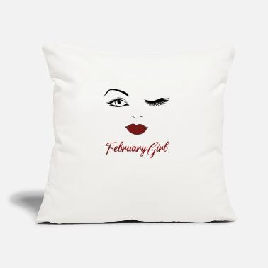 "Eye February Girl Eyes Red Lips Cute Wink Birthday - Throw Pillow Cover 18"" x 18"""