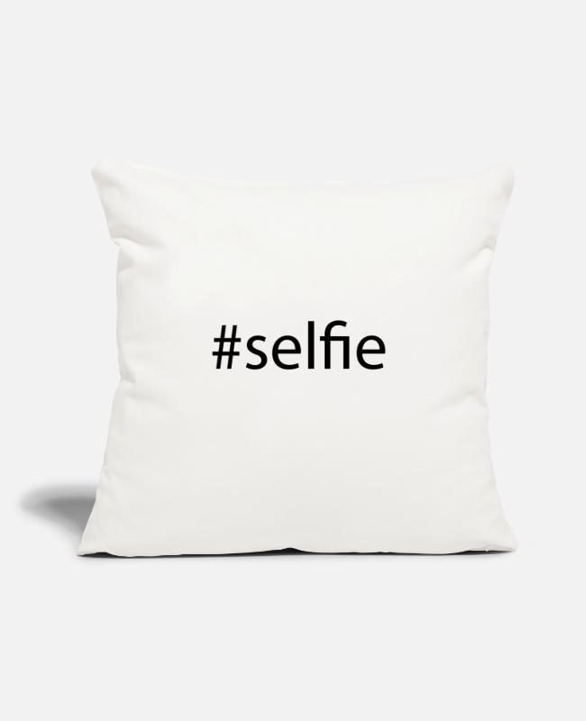 "Hashtag Pillow Cases - #selfie Hashtag Trend Cool Popular Social Media - Throw Pillow Cover 18"" x 18"" natural white"