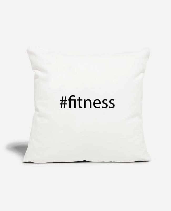 "Hashtag Pillow Cases - #fitness Hashtag Trend Cool Popular Social Media - Throw Pillow Cover 18"" x 18"" natural white"
