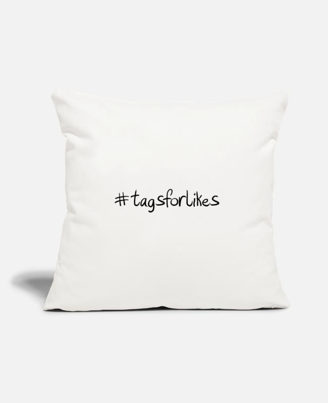 "Hashtag Pillow Cases - #tagsforlikes Hashtag Trend Cool Popular - Throw Pillow Cover 18"" x 18"" natural white"