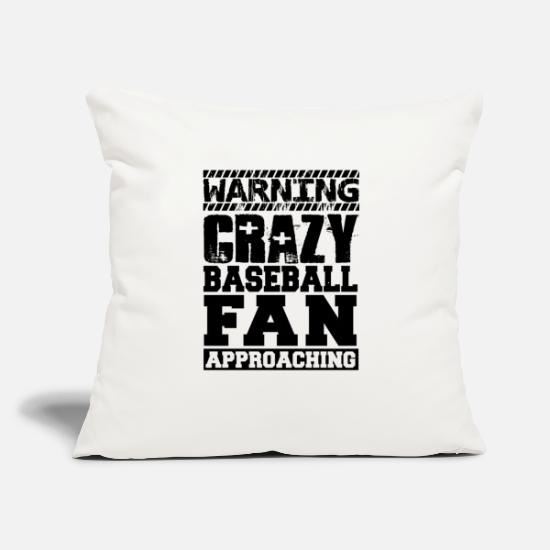 "Baseball Pillow Cases - Warning Crazy Baseball Fan Approaching - Throw Pillow Cover 18"" x 18"" natural white"