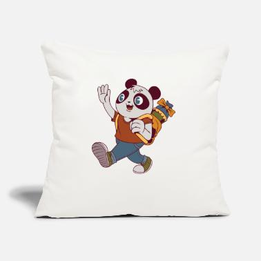 "School Panda Bear - Throw Pillow Cover 18"" x 18"""