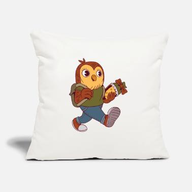 "Little School Owl - Throw Pillow Cover 18"" x 18"""