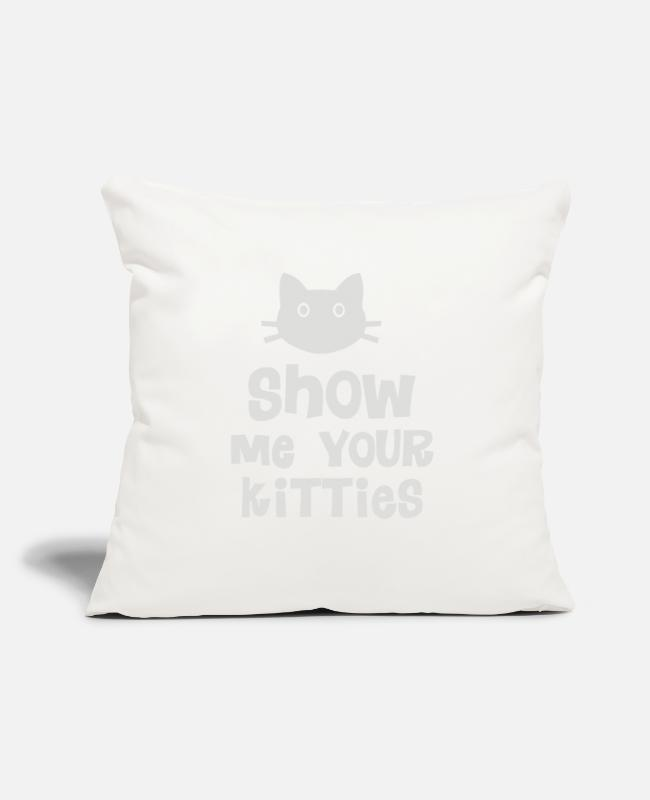 "Hand Sign Pillow Cases - Show Me Your Kitties - Throw Pillow Cover 18"" x 18"" natural white"