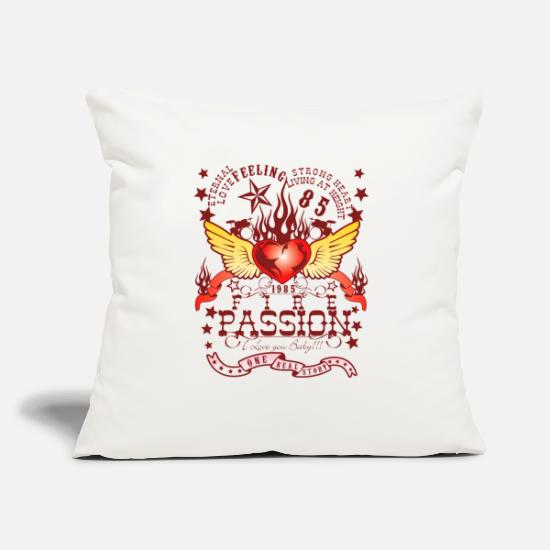 "Heart With Wings Pillow Cases - fire passion - Throw Pillow Cover 18"" x 18"" natural white"