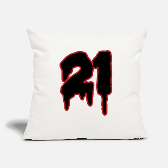 "Birthday Pillow Cases - Number 21 - Throw Pillow Cover 18"" x 18"" natural white"