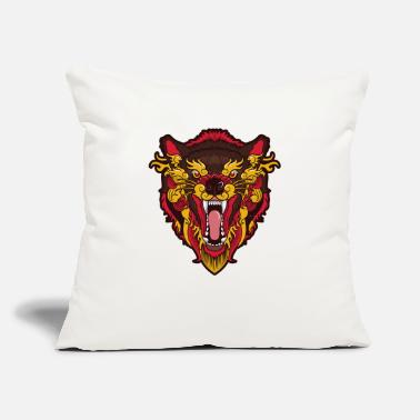 "Growling Wolf Funny Werewolf - Wolf Teeth Snarl Growl Legend - Throw Pillow Cover 18"" x 18"""