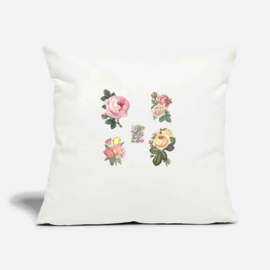 "Love Pillow Cases - Flowers - Throw Pillow Cover 18"" x 18"" natural white"