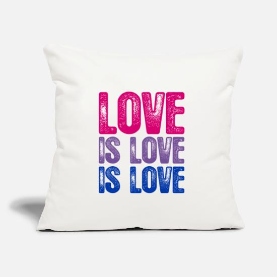 "Bisexual Pillow Cases - Bisexual Love is Love is Love - Throw Pillow Cover 18"" x 18"" natural white"