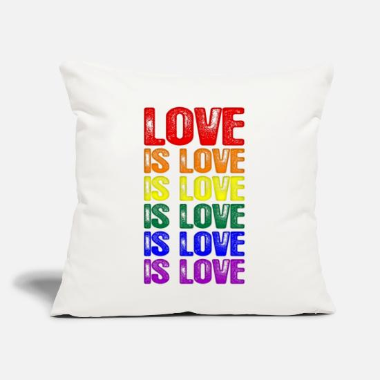 "Love Pillow Cases - LGBTQ Love is Love is Love - Throw Pillow Cover 18"" x 18"" natural white"