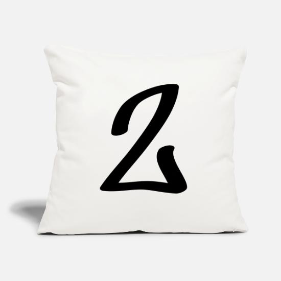 "Number Pillow Cases - number 2 - Throw Pillow Cover 18"" x 18"" natural white"