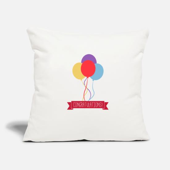 "Birthday Pillow Cases - Congratulations - Throw Pillow Cover 18"" x 18"" natural white"