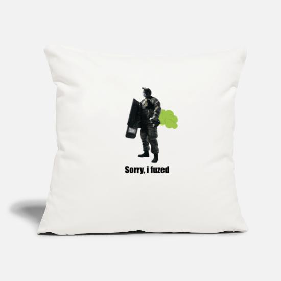 "Six Pillow Cases - sorry i fuzed - Throw Pillow Cover 18"" x 18"" natural white"