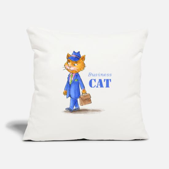 "Business Pillow Cases - Business Cat - Throw Pillow Cover 18"" x 18"" natural white"