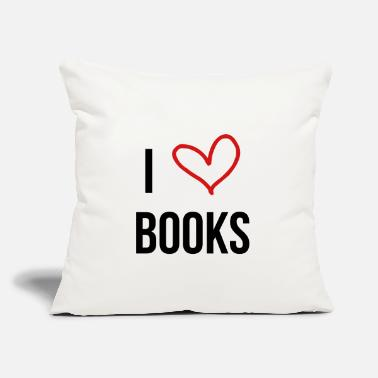 "I Love books - Reading - Literature - Throw Pillow Cover 18"" x 18"""
